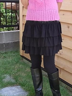 ティアードminiスカート・ブラック/ストレッチパンツ専門店【ROOSAルーサ】
