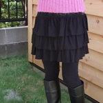 最後の一本!スーパーストレッチ素材のティアードminiスカート/ブラック