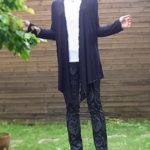 上質素材の大人のロングカーディガン・ブラック黒/春着たい羽織物